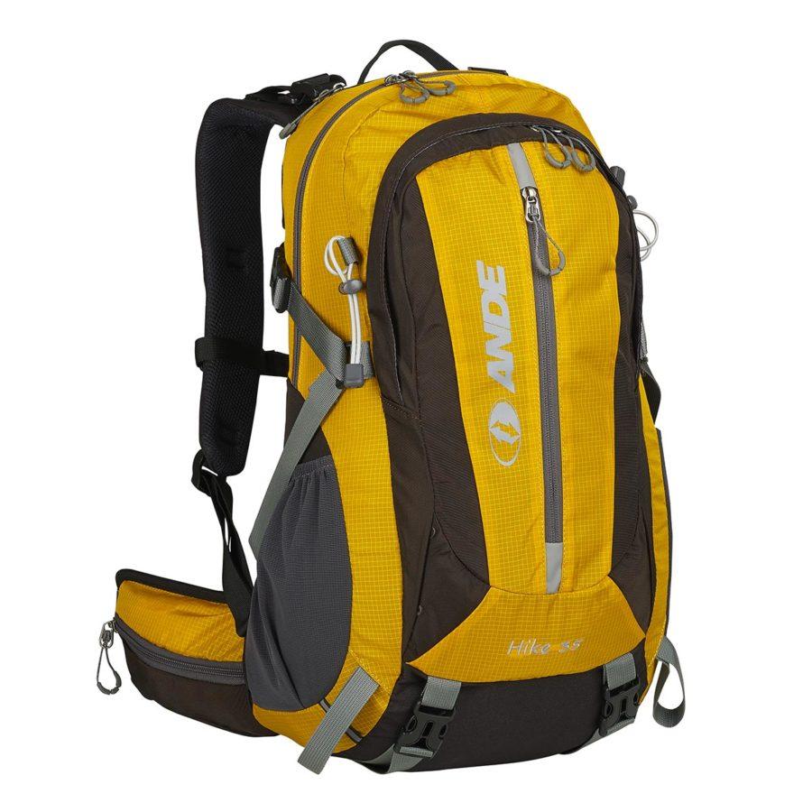 ande zaino hike 35 litri colore giallo e marrone
